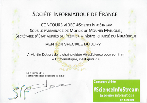 Prix mention spéciale pour la vidéo sur l'informatique